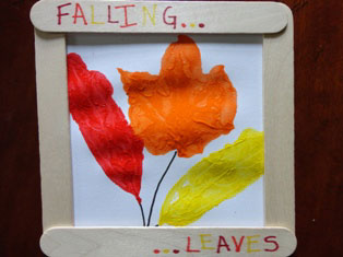 framed-painted-fall-leaves craft