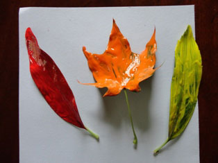 painted fall leaves craft
