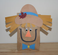 Paper bag scarecrow craft all kids network for Brown paper bag crafts for toddlers