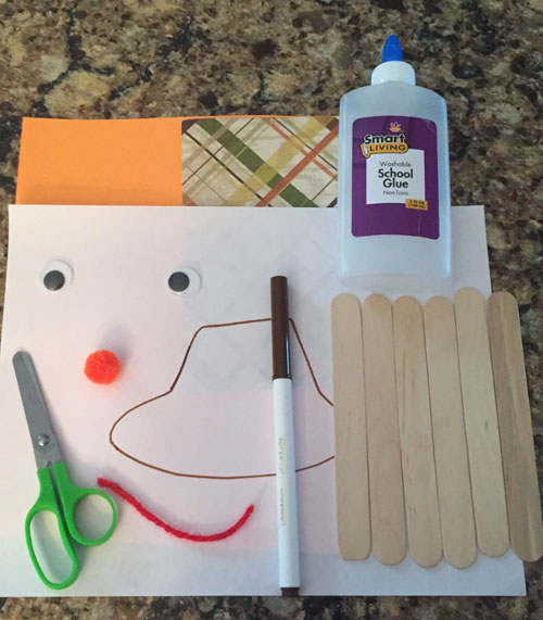 popsicle stick scarecrow craft materials