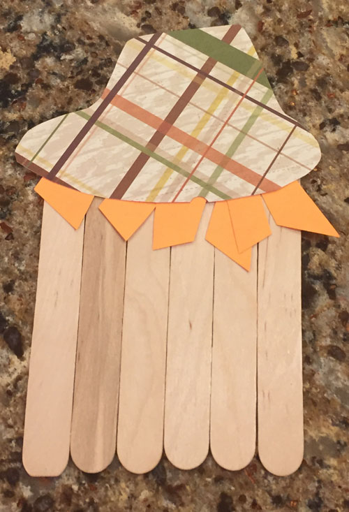 popsicle stick scarecrow craft step 4