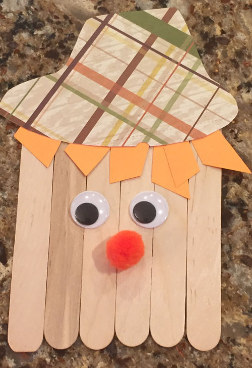 popsicle stick scarecrow craft step 5