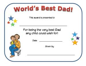 worlds best dad certificate