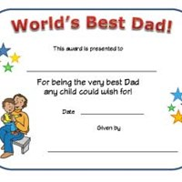 World's Best Dad Certificate