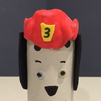 Paper Roll Fire Safety Dog Craft