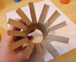 paper roll flower print craft step 2