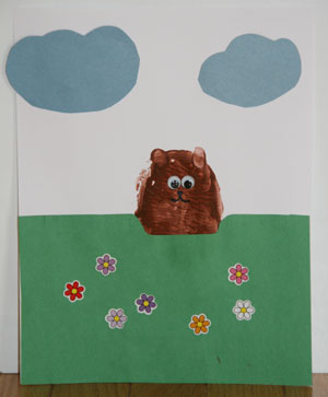 potato stamp groundhog craft