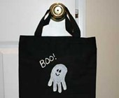 Handprint Ghost Trick or Treat Bag Craft