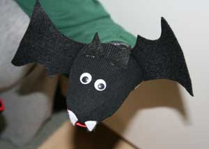 bat sock puppet craft