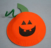 paper plate pumpkin craft