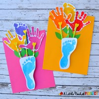 handprint footprint flowers and vase craft