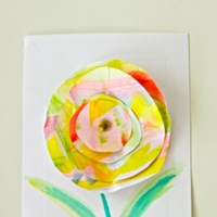 circular painted paper flower card