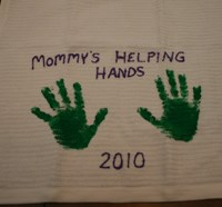 Mother's Day Handprint Dish Towel Craft