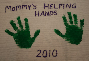 handprint kitchen towel craft