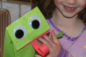 Paper Bag Frog Puppet Craft