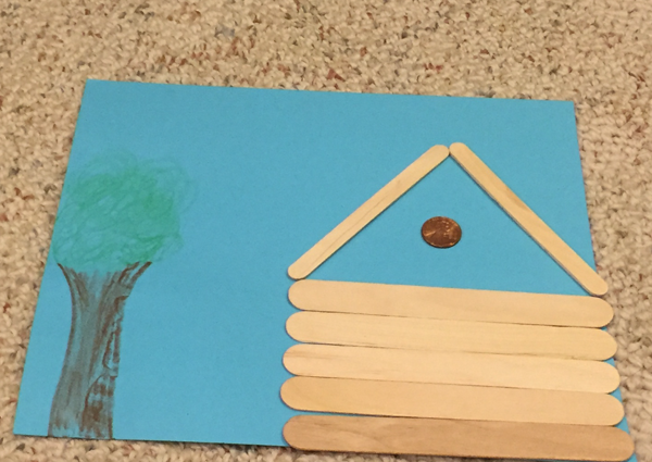 lincoln popsicle stick cabin craft step 3