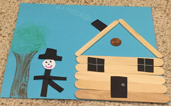 abe lincoln popsicle stick cabin craft