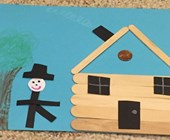 Popsicle Stick Log Cabin Craft