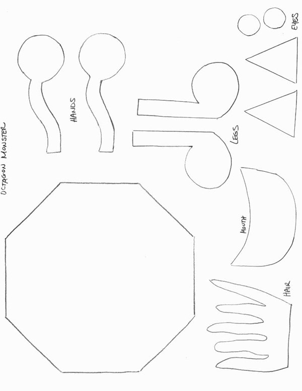 Shapes Crafts  Print Your Octagon Monster Template  All Kids Network
