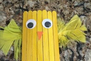 Popsicle Stick Chick Magnet Craft