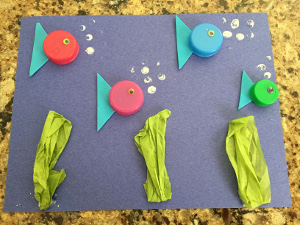 bottle cap fish craft step 5
