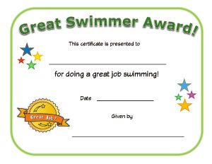Great Swimmer Certificate | All Kids Network