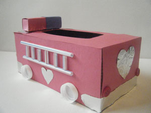 fire truck valentine holder side