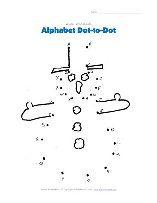 Snowman Alphabet Dot to Dot