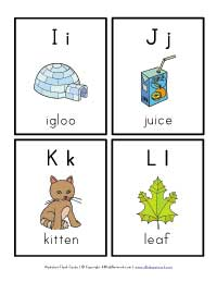 alphabet flashcards i,j,k and l