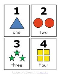 number flash cards 1 - 4