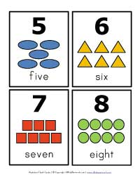 number flash cards 5 - 8