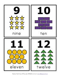 number flash cards 9 - 12