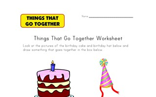 draw birthday go togethers worksheet