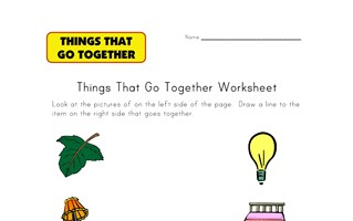 go togethers matching worksheet