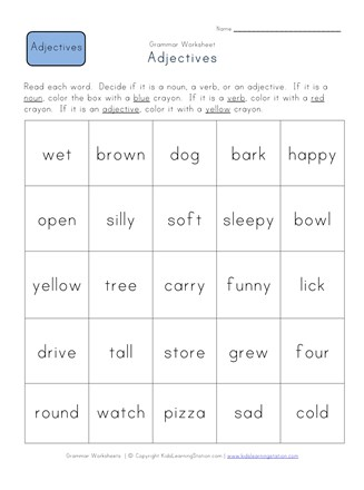 Identify the Adjectives Worksheet | All Kids Network