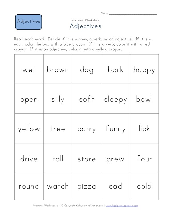 Identify the Adjectives Worksheet   All Kids Network