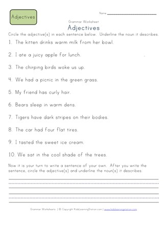 Circle the Adjectives Worksheet 1 | All Kids Network