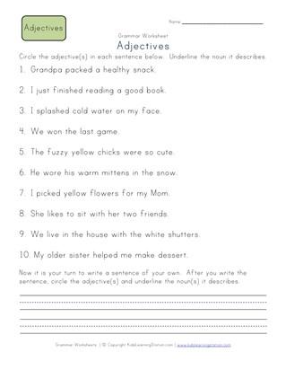 November Adjectives Worksheet Second Grade Freebies | School stuff ...