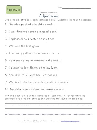 Circle the Adjectives Worksheet 2 | All Kids Network