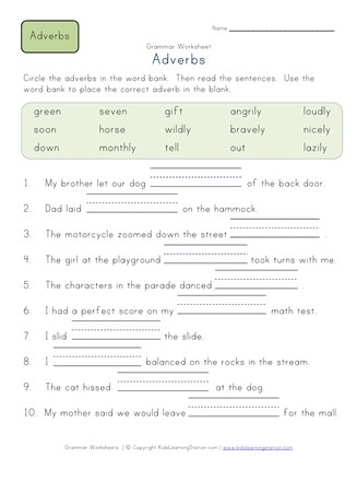 Fill In Blanks Adverbs Worksheet 2 All Kids Network