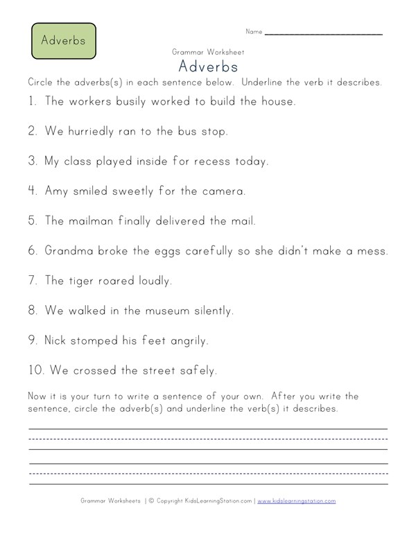 Circle the Adverbs Worksheet 2 | All Kids Network