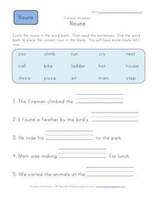First Grade Noun Worksheets All Kids Network
