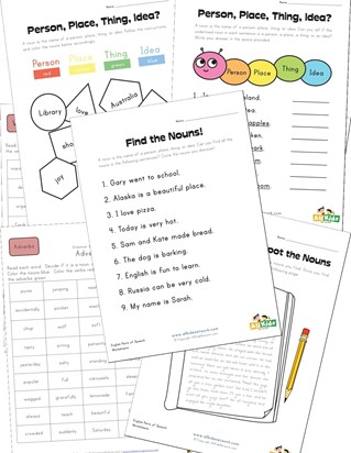 third grade noun worksheets