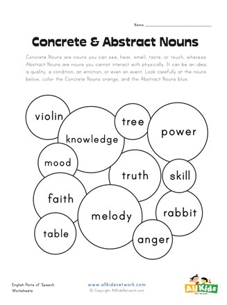 Concrete and Abstract Nouns Worksheet 1 | All Kids Network