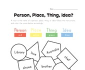 person, place, thing or idea worksheet