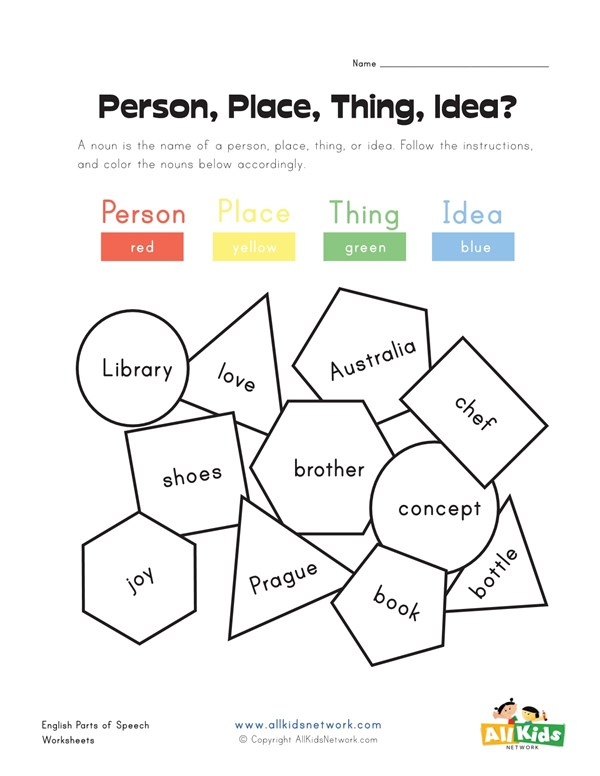 Color the Person, Place, Thing or Idea Nouns | All Kids Network