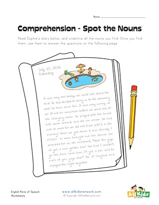 spot the nouns worksheet