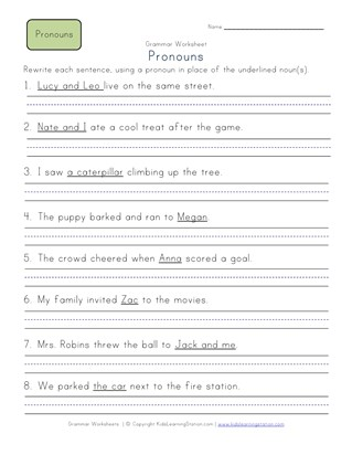 Second Grade Pronoun Worksheets | All Kids Network