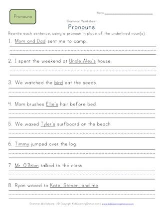 Use Pronouns in Sentences - 2nd Grade Pronoun Worksheet 3 ...