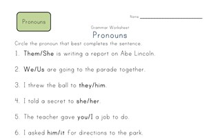 Second Grade Pronoun Worksheets   All Kids Network